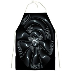 Fractal Disk Texture Black White Spiral Circle Abstract Tech Technologic Full Print Aprons