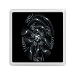 Fractal Disk Texture Black White Spiral Circle Abstract Tech Technologic Memory Card Reader (square)