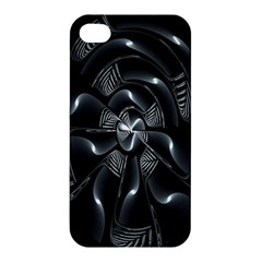 Fractal Disk Texture Black White Spiral Circle Abstract Tech Technologic Apple Iphone 4/4s Hardshell Case