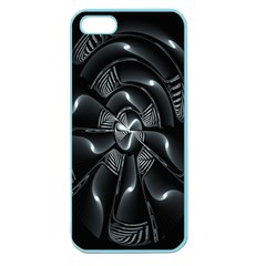 Fractal Disk Texture Black White Spiral Circle Abstract Tech Technologic Apple Seamless iPhone 5 Case (Color)