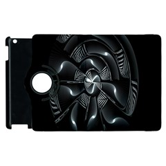 Fractal Disk Texture Black White Spiral Circle Abstract Tech Technologic Apple iPad 2 Flip 360 Case