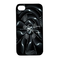Fractal Disk Texture Black White Spiral Circle Abstract Tech Technologic Apple iPhone 4/4S Hardshell Case with Stand
