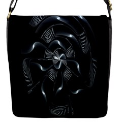 Fractal Disk Texture Black White Spiral Circle Abstract Tech Technologic Flap Messenger Bag (S)