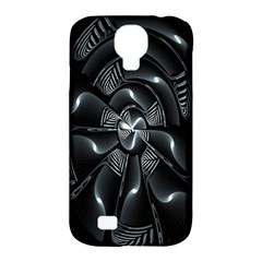 Fractal Disk Texture Black White Spiral Circle Abstract Tech Technologic Samsung Galaxy S4 Classic Hardshell Case (PC+Silicone)