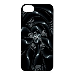 Fractal Disk Texture Black White Spiral Circle Abstract Tech Technologic Apple iPhone 5S/ SE Hardshell Case