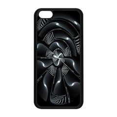 Fractal Disk Texture Black White Spiral Circle Abstract Tech Technologic Apple iPhone 5C Seamless Case (Black)