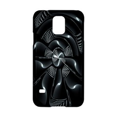 Fractal Disk Texture Black White Spiral Circle Abstract Tech Technologic Samsung Galaxy S5 Hardshell Case