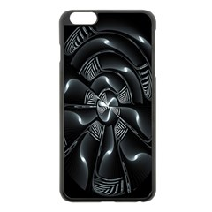 Fractal Disk Texture Black White Spiral Circle Abstract Tech Technologic Apple Iphone 6 Plus/6s Plus Black Enamel Case