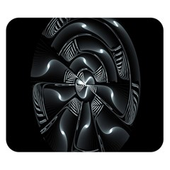 Fractal Disk Texture Black White Spiral Circle Abstract Tech Technologic Double Sided Flano Blanket (Small)