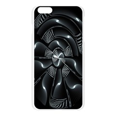 Fractal Disk Texture Black White Spiral Circle Abstract Tech Technologic Apple Seamless iPhone 6 Plus/6S Plus Case (Transparent)