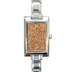 Mechanical Tech Pattern Rectangle Italian Charm Watch