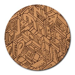 Mechanical Tech Pattern Round Mousepads