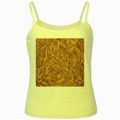 Mechanical Tech Pattern Yellow Spaghetti Tank