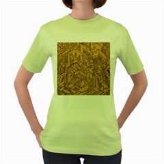 Mechanical Tech Pattern Women s Green T-Shirt