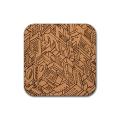 Mechanical Tech Pattern Rubber Square Coaster (4 pack)