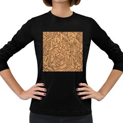 Mechanical Tech Pattern Women s Long Sleeve Dark T-Shirts