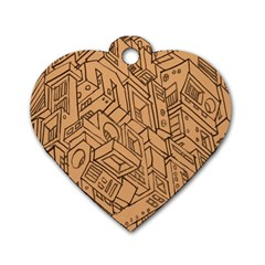 Mechanical Tech Pattern Dog Tag Heart (one Side)