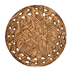 Mechanical Tech Pattern Round Filigree Ornament (Two Sides)