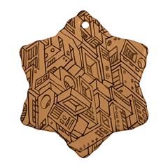 Mechanical Tech Pattern Snowflake Ornament (two Sides)
