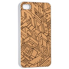 Mechanical Tech Pattern Apple iPhone 4/4s Seamless Case (White)