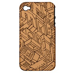 Mechanical Tech Pattern Apple iPhone 4/4S Hardshell Case (PC+Silicone)