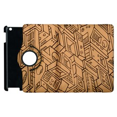 Mechanical Tech Pattern Apple iPad 2 Flip 360 Case