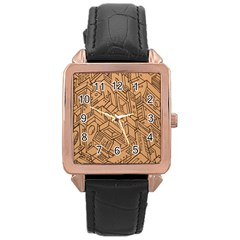 Mechanical Tech Pattern Rose Gold Leather Watch