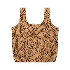 Mechanical Tech Pattern Full Print Recycle Bags (M)