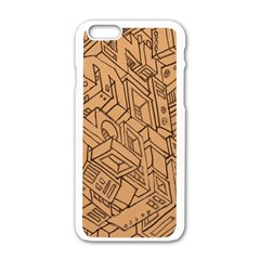 Mechanical Tech Pattern Apple iPhone 6/6S White Enamel Case