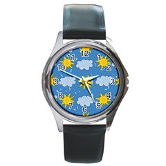 Sunshine Tech Blue Round Metal Watch