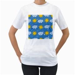 Sunshine Tech Blue Women s T Shirt (white) (two Sided)