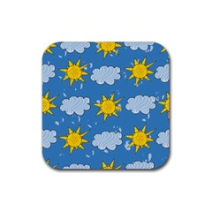 Sunshine Tech Blue Rubber Square Coaster (4 pack)