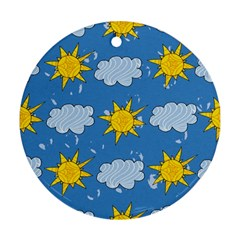 Sunshine Tech Blue Round Ornament (two Sides)