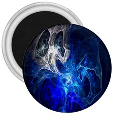 Ghost Fractal Texture Skull Ghostly White Blue Light Abstract 3  Magnets