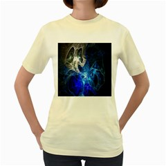 Ghost Fractal Texture Skull Ghostly White Blue Light Abstract Women s Yellow T-Shirt