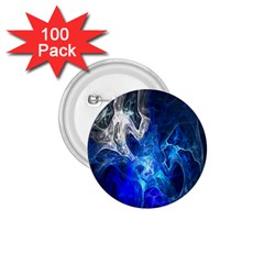 Ghost Fractal Texture Skull Ghostly White Blue Light Abstract 1.75  Buttons (100 pack)