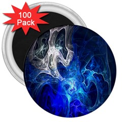 Ghost Fractal Texture Skull Ghostly White Blue Light Abstract 3  Magnets (100 Pack)