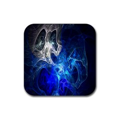 Ghost Fractal Texture Skull Ghostly White Blue Light Abstract Rubber Square Coaster (4 Pack)