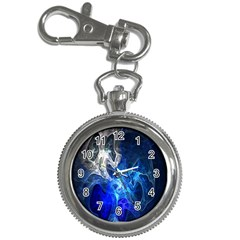 Ghost Fractal Texture Skull Ghostly White Blue Light Abstract Key Chain Watches