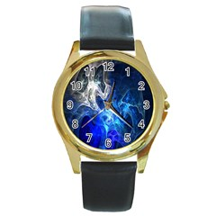 Ghost Fractal Texture Skull Ghostly White Blue Light Abstract Round Gold Metal Watch