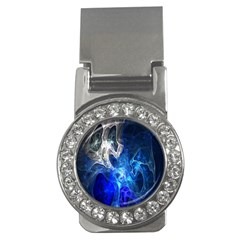 Ghost Fractal Texture Skull Ghostly White Blue Light Abstract Money Clips (CZ)