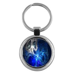 Ghost Fractal Texture Skull Ghostly White Blue Light Abstract Key Chains (Round)