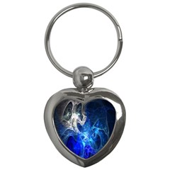 Ghost Fractal Texture Skull Ghostly White Blue Light Abstract Key Chains (Heart)