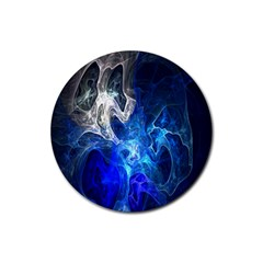 Ghost Fractal Texture Skull Ghostly White Blue Light Abstract Rubber Round Coaster (4 Pack)