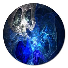Ghost Fractal Texture Skull Ghostly White Blue Light Abstract Magnet 5  (Round)