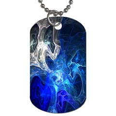 Ghost Fractal Texture Skull Ghostly White Blue Light Abstract Dog Tag (one Side)