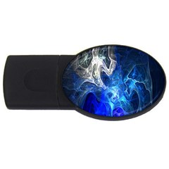 Ghost Fractal Texture Skull Ghostly White Blue Light Abstract USB Flash Drive Oval (2 GB)