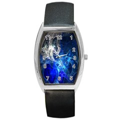 Ghost Fractal Texture Skull Ghostly White Blue Light Abstract Barrel Style Metal Watch