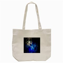 Ghost Fractal Texture Skull Ghostly White Blue Light Abstract Tote Bag (Cream)