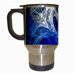 Ghost Fractal Texture Skull Ghostly White Blue Light Abstract Travel Mugs (White)